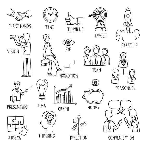 Desenho de conceito de negócio - ilustração de arte em vetor