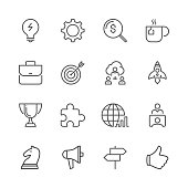 Icon Set of business things on white background , Vector line design icon