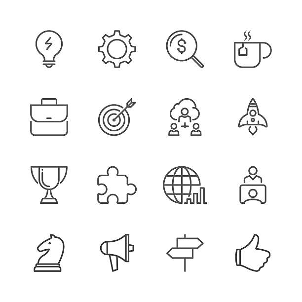Business Concept Icon Set Shown By Line Series Vector Art Illustration