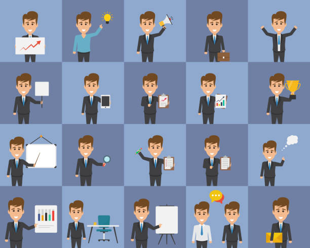 Business Concept Idea Characters Flat Icons vector art illustration
