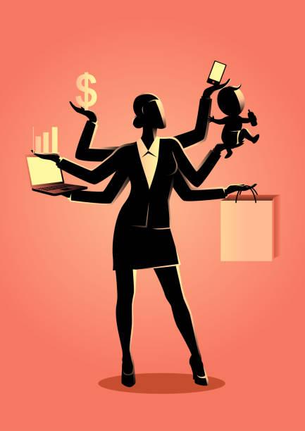 illustrations, cliparts, dessins animés et icônes de illustration de concept de business pour le multitâche - femmes actives