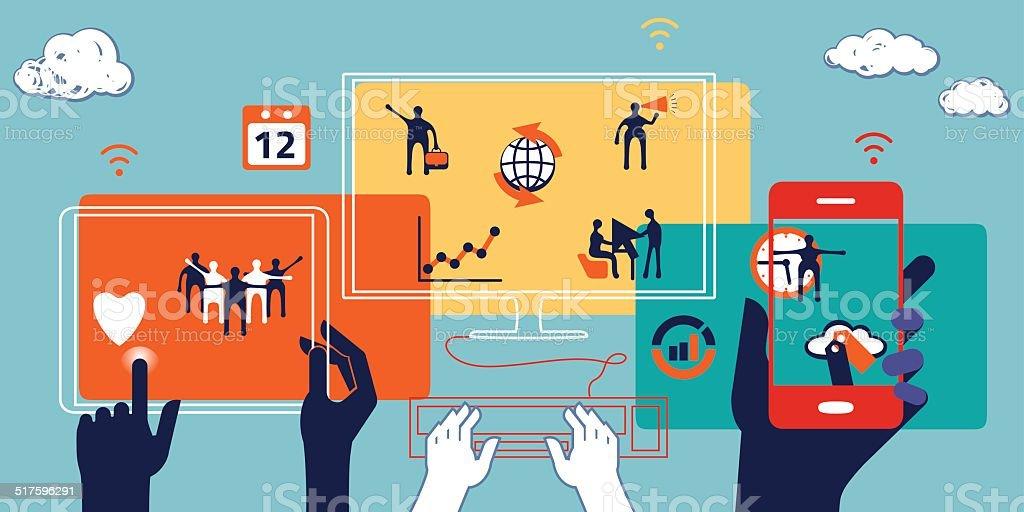 Business concept. Illustration of collaboration, teamwork vector art illustration