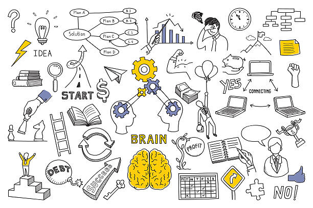 Business concept in doodle style Hand draw doodles vector illustration set in concept of brain, thinking, business solution, method, strategy, object, opportunity, success, idea. Sketching or drawing style. critic stock illustrations