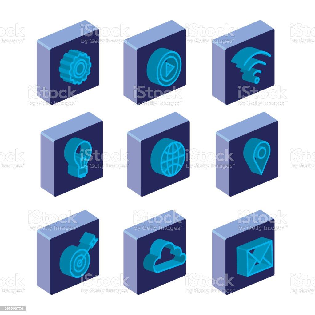 Business Konzept isometrische stellen icons - Lizenzfrei Bewegung Vektorgrafik