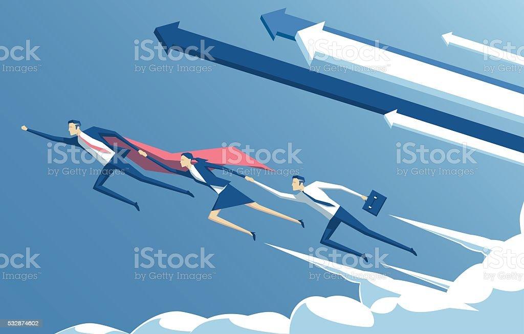 Business concept leadership vector art illustration