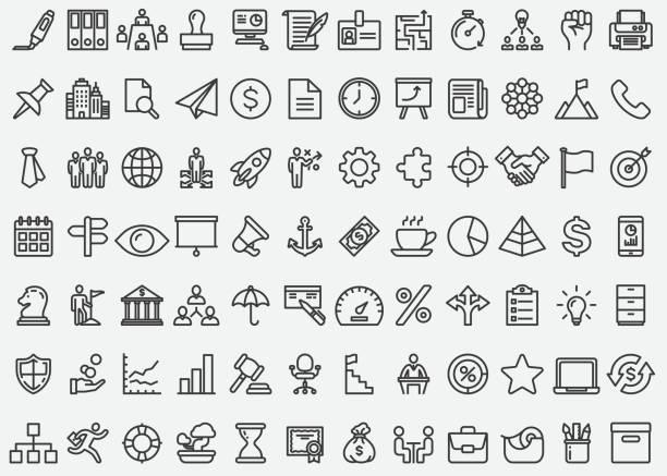 business concept line icons - mieszkanie komunalne stock illustrations
