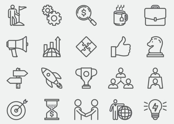 Business Concept Line Icons Vector Art Illustration