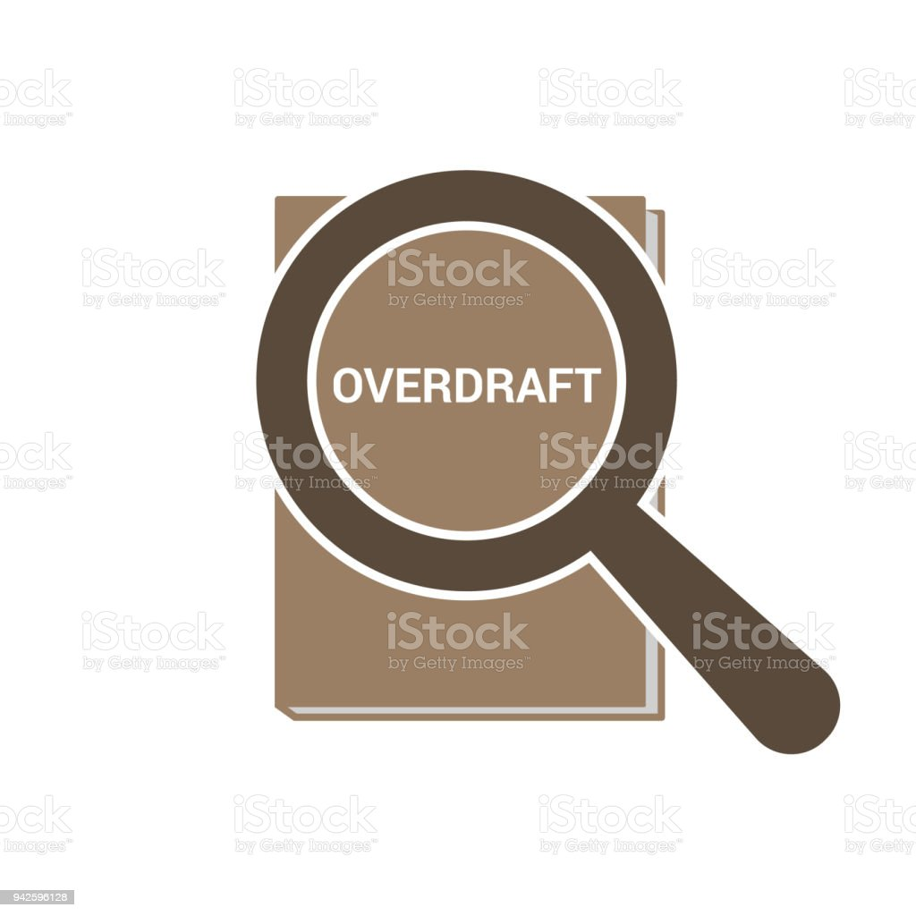 Business Concept: Magnifying Optical Glass With Words Overdraft vector art illustration
