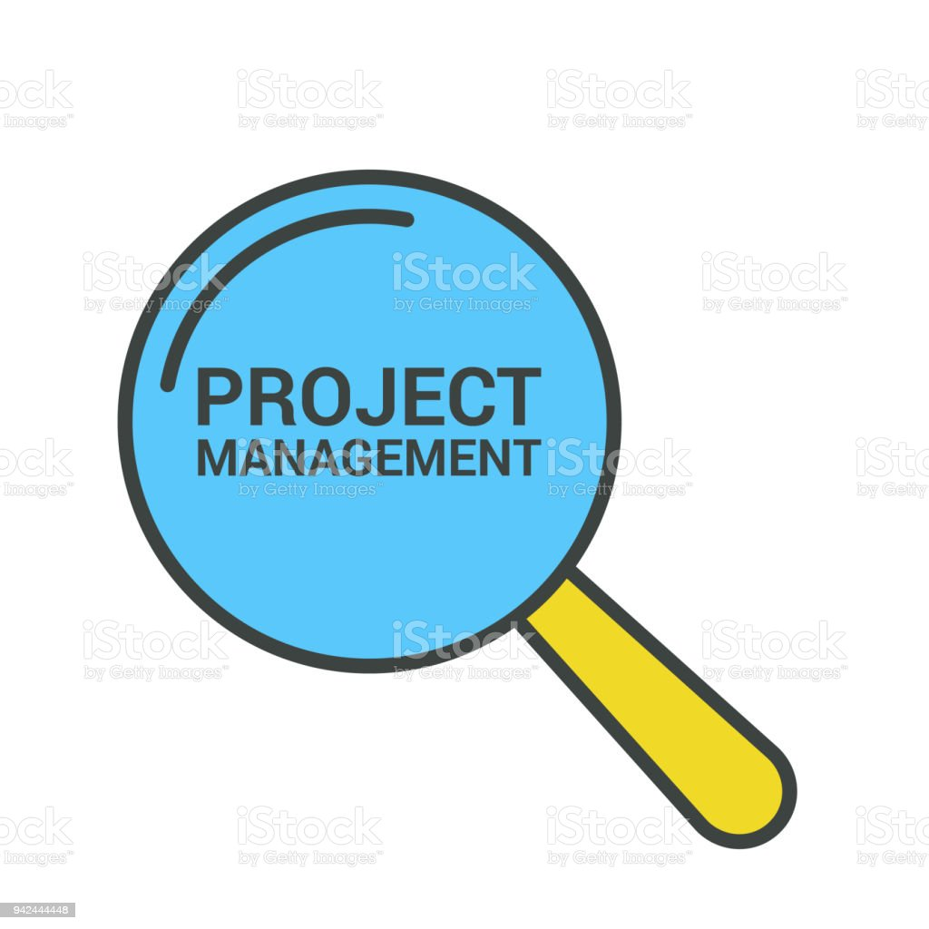 Business Concept: Magnifying Optical Glass With Words Project Management vector art illustration