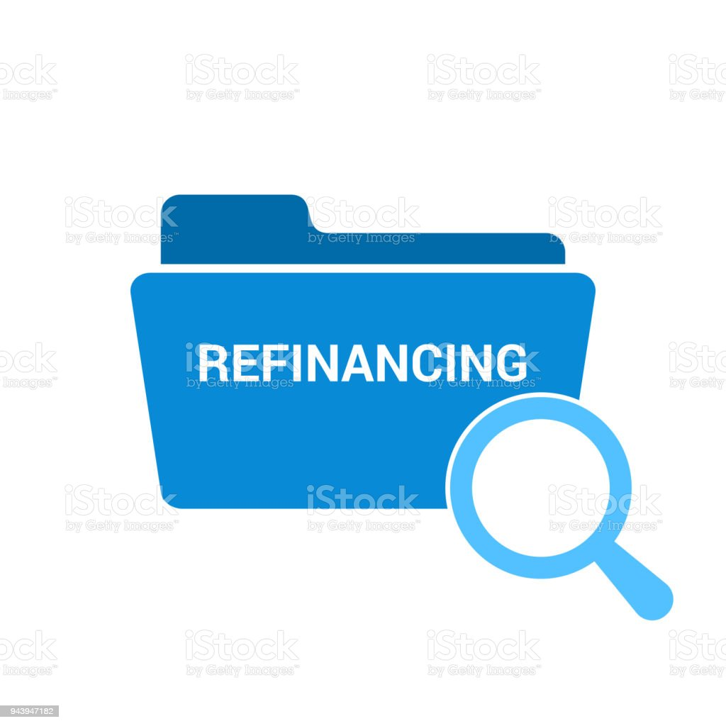 Business Concept: Magnifying Optical Glass With Words Refinancing vector art illustration