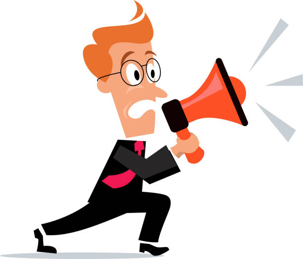 business concept- megaphone announcement - old man crying clip art stock illustrations, clip art, cartoons, & icons