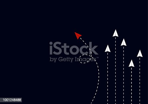 Business concept. Minimalist stile red paper airplane changing direction and white ones. Leader, New idea, boss, manager, winner concept, trend. Vector illustration