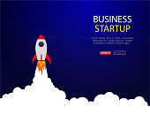 Business concept of banner with startup rocket.Launch rocket vector background. Shuttle in space. vector eps10