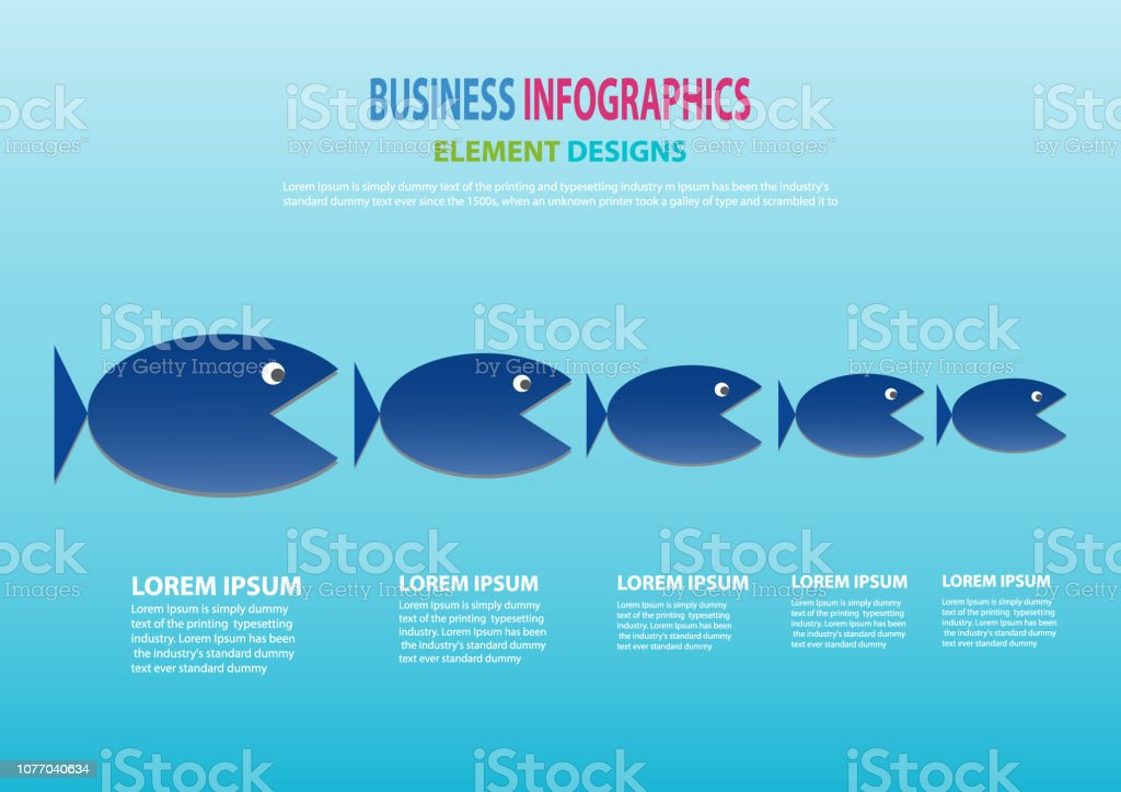 Business concept of Big Fish chasing Small fish as big company chasing small company. illustration, Vector, EP10. vector art illustration