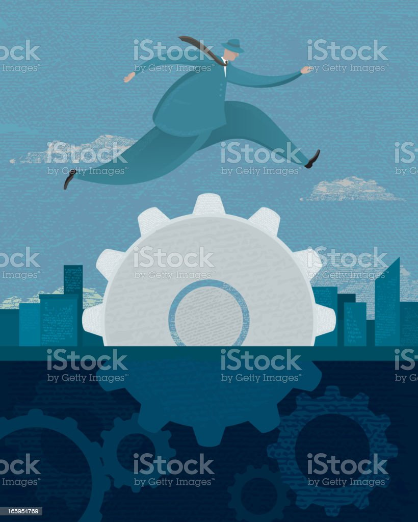 Business concept of businessman jumping over gear royalty-free stock vector art