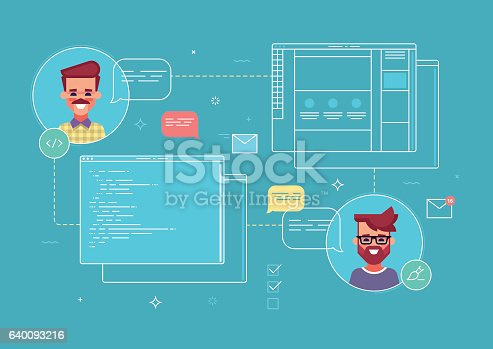 Business concept of co-work designer and programmer by project of website. Modern vector illustration