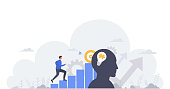 Business concept of goal achievement, professional development, career building and capital gains. Businessman moving up the graph, motivation and success.