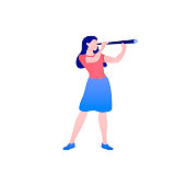 Business vision vector concept with businesswoman with telescope. Symbol of business visionary, leader, or new career opportunity. Vector Female cartoon character full length flat isolated.