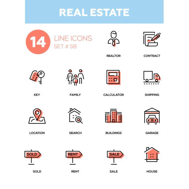geschäftskonzept, immobilien - linie design icons set - arbeitsvermittlung stock-grafiken, -clipart, -cartoons und -symbole