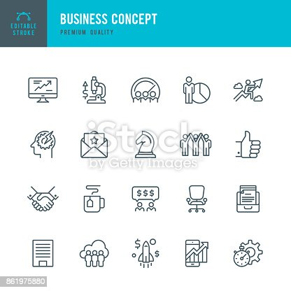 Set of Business Concept thin line vector icons.