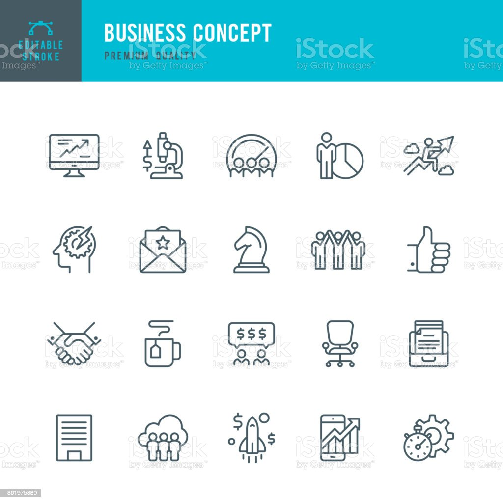 Business Concept - set of thin line vector icons vector art illustration