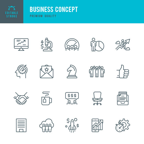 Business Concept - set of thin line vector icons Set of Business Concept thin line vector icons. office chair stock illustrations