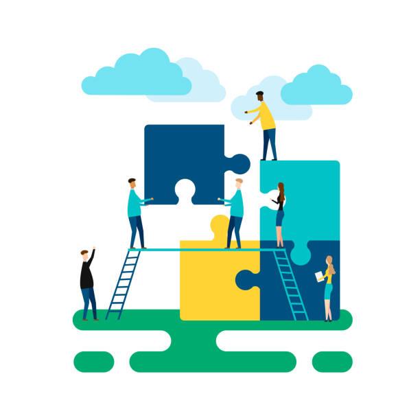 illustrazioni stock, clip art, cartoni animati e icone di tendenza di concetto di business. metafora di squadra. isolato su sfondo bianco. illustrazione vettoriale. - costruire