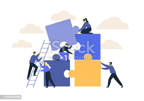istock Business concept. Team metaphor. people connecting puzzle elements. Vector illustration flat design style. Symbol of teamwork, cooperation, partnership. 1255035396