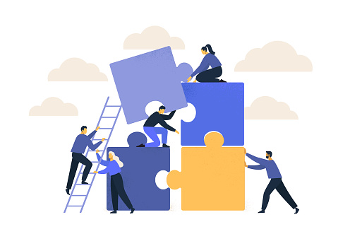 Business concept. Team metaphor. people connecting puzzle elements. Vector illustration flat design style. Symbol of teamwork, cooperation, partnership