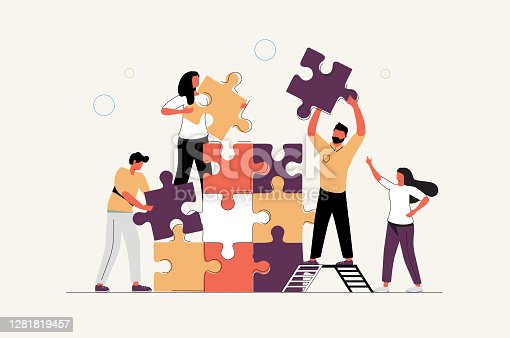 istock Business concept. Team metaphor. people connecting puzzle elements. Vector illustration flat design style. 1281819457