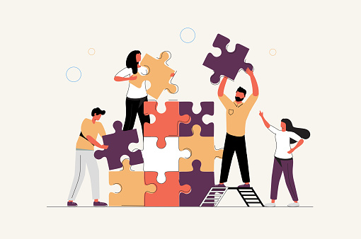 Business concept. Team metaphor. people connecting puzzle elements. Vector illustration flat design style. Symbol of teamwork, cooperation, partnership vector. Strategy, planning business concept.