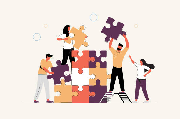 koncepcja biznesowa. metafora zespołu. osób łączących elementy układanki. ilustracja wektorowa płaski styl projektowania. - praca zespołowa stock illustrations
