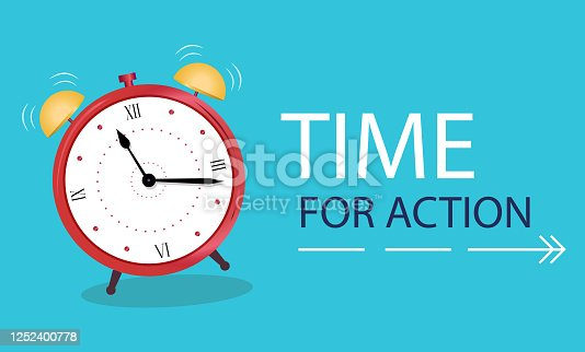 Business Concept time to action. Banner Alarm clock on a blue background. Vector illustration in flat style.