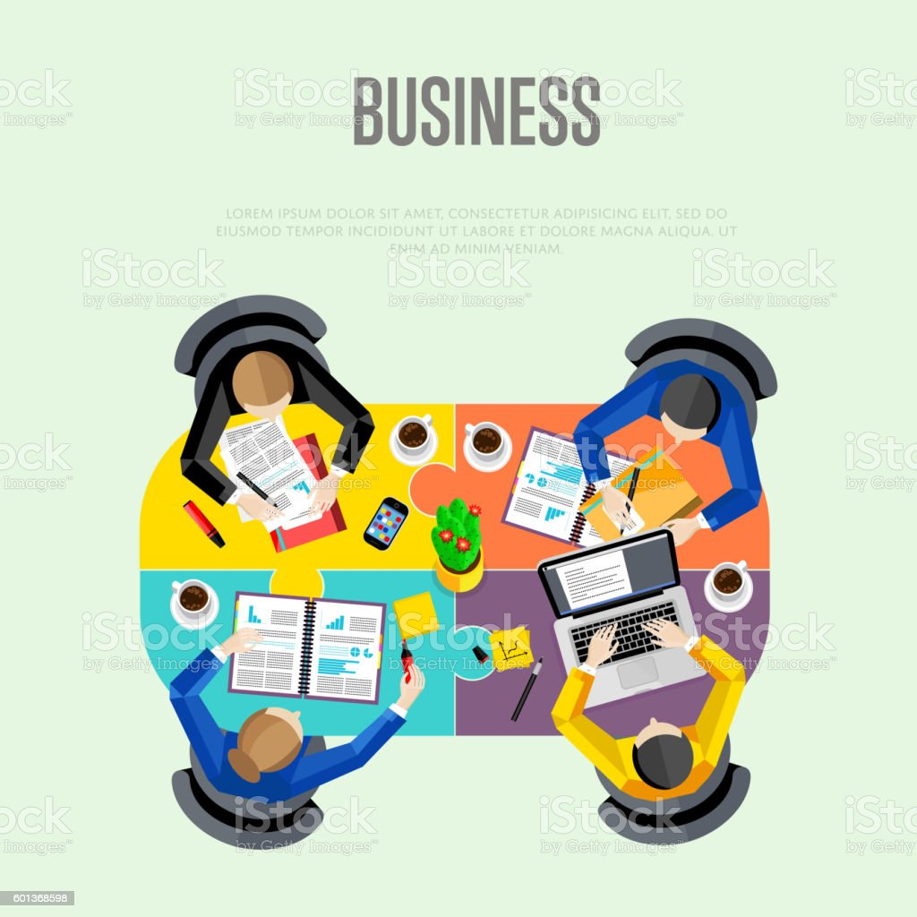 Business concept. Top view workspace background vector art illustration