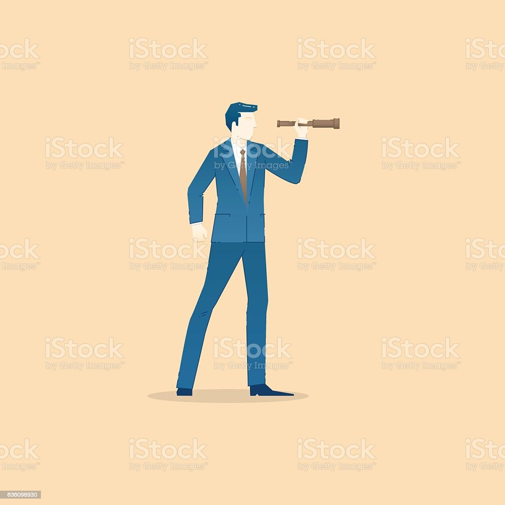 Business concept vector illustration of businessman looking through spy-glass vector art illustration