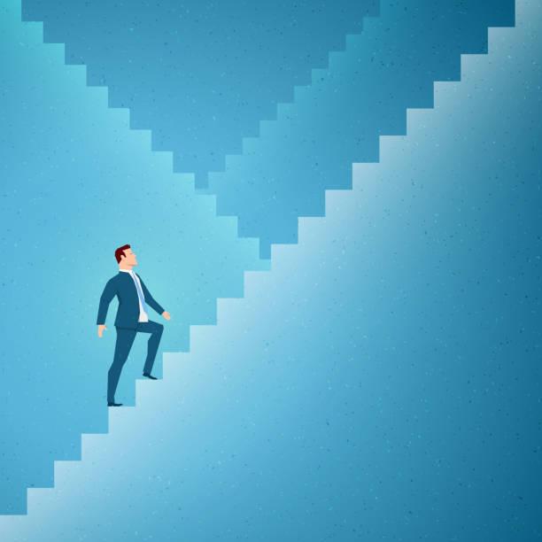 business konzept-vektor-illustration - treppe stock-grafiken, -clipart, -cartoons und -symbole