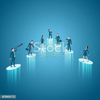 Business concept vector illustration. Growth, rising, success, win, business opportunities concept. Elements are layered separately in vector file.