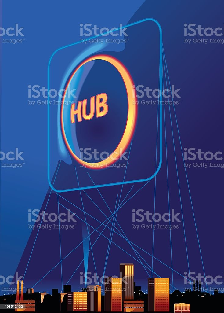 HUB. Business concept. Vector vector art illustration