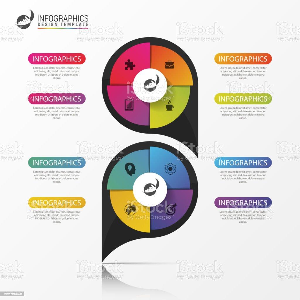 Business concept with 8 options. Infographic design. Vector business concept with 8 options infographic design vector - immagini vettoriali stock e altre immagini di affari royalty-free