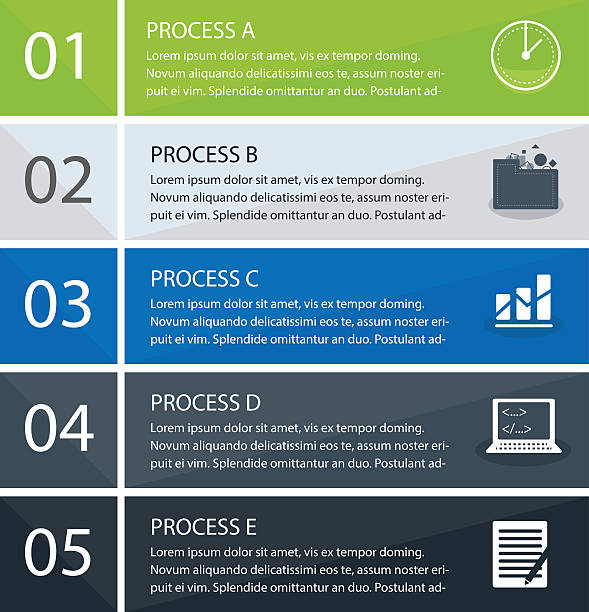business-konzept mit fünf optionen - entspannungsmethoden stock-grafiken, -clipart, -cartoons und -symbole