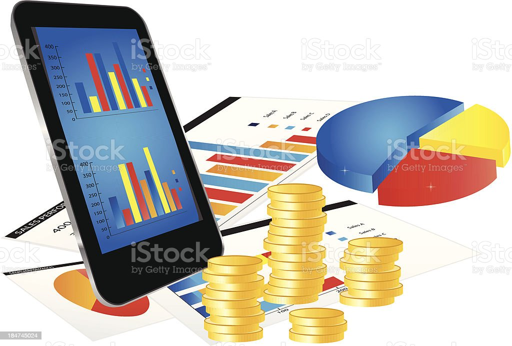 Business Concept with Smartphone and Graphs royalty-free stock vector art