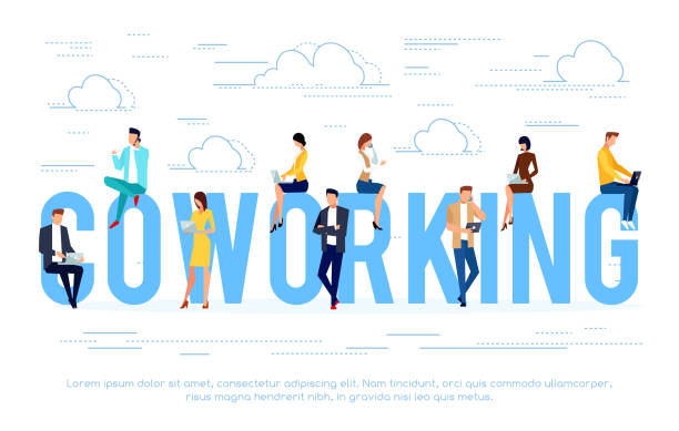 ilustrações de stock, clip art, desenhos animados e ícones de business concept with young people using laptops and smartphones. - coworking