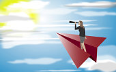 Business concept,Businesswoman is flying on a paper plane.Vector