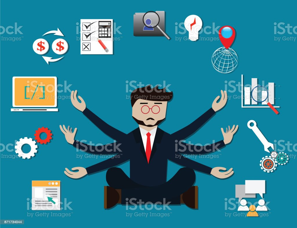 Business concept,Expert project manager, work hard - Vector Illustration vector art illustration