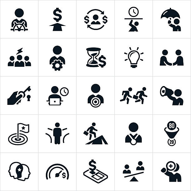 Business Concepts and Metaphors Icons An icon set of different business related concepts and metaphors. The icons include business people in leadership, working, problem solving, brainstorming, success, failure, trapped, stressed and pressured. overworked stock illustrations