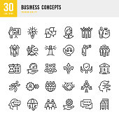 Set of 30 Business Concepts line vector icons. Office Building, Happy group of peoples, Bank, Winner, Support Success, Target, Management, Process and so on