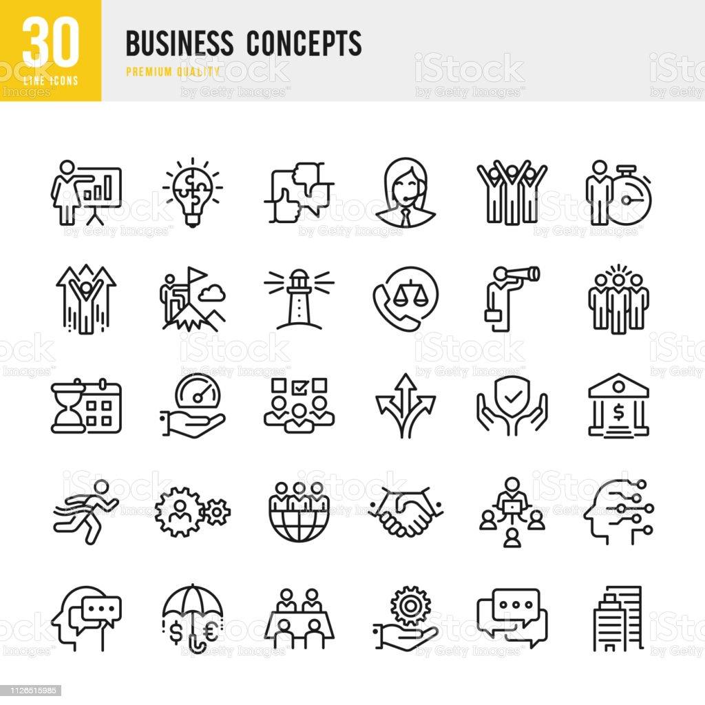 Business-Konzepte - Linie Vektor-Icons set – Vektorgrafik