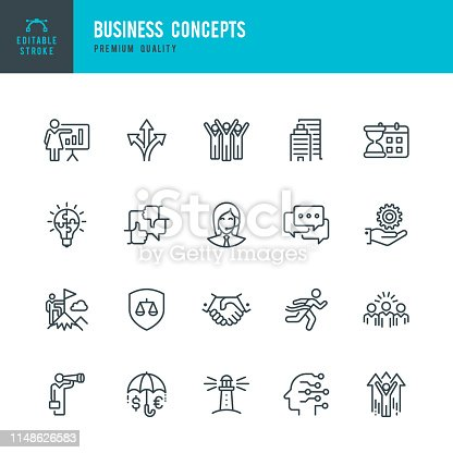 Set of 20 Business Concepts line vector icons. Success, Support, Targets, Teamwork, Team, Directions, Idea, Winner and so on.