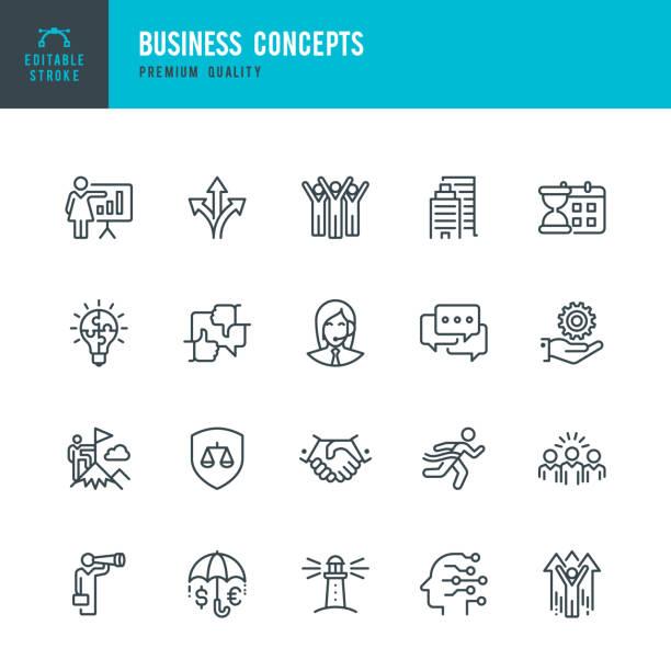 Business Concepts-Satz von Zeilenvektorsymbolen – Vektorgrafik