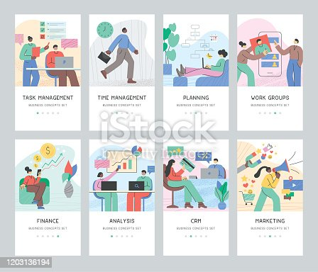 Set of various business people working on different tasks.  Fully editable vectors for multiple purposes.